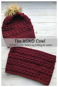 The XOXO Cowl: a free crochet pattern - crafts for weeks, . The XOXO Cowl: A free crochet pattern - crafts for weeks, Always wanted to learn . Crochet Scarves, Crochet Hooks, Crocheted Hats, Knit Hats, Knitting Hats, Vintage Knitting, Free Knitting, Crochet Crafts, Crochet Projects
