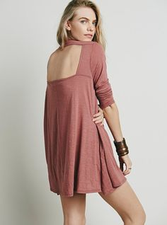Made from our semi-sheer, lightweight Beach jersey, this mini dress has a swingy silhouette and upper back cutout. American made.