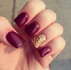 Red maroon and gold glitter nails