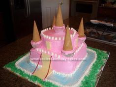 Princess Katies First Castle Birthday Cake: This is the first time that I ever tried to make more than just a plain cake.  It was for my daughter's first birthday and of course it was a princess