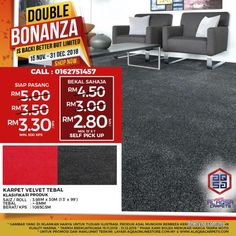 Business for Sale for sale, in Klang, Selangor, Malaysia. Double Bonanza promo is running on Office Carpets! Save Now With promo Office Carpet Just From Office Carpet, Quality Carpets, New Environment, Workplace, Improve Yourself, Promotion, Running