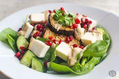 Harissa Roasted Aubergine & Greek Sheese Salad - vegan / DF / GF. Bute Island.