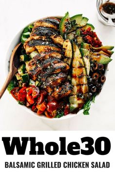 Balsamic Grilled Chicken Salad – Paleo Gluten Free Eats Balsamic Grilled Chicken Salad Grilled chicken salad with balsamic dressing and grilled vegetables. An easy paleo dinner for the whole family! Paleo dinner re Balsamic Grilled Chicken, Grilled Chicken Recipes, Salmon Recipes, Beef Recipes, Healthy Recipes, Paleo Food, Healthy Foods, Eating Healthy, Snapper Recipes