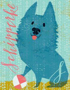 S is for Schipperke Dog Letter Size Print
