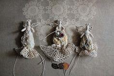 crocheted lace stone angel / unique wedding ring by firuzangoker, $56.00    such an artist