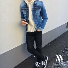 Jacket: Pepe Jeans Shoes: Vans more here Black Vans Outfit, Vans Outfit Men, Men With Street Style, Men Street, Street Wear, Stylish Men, Men Casual, Boy Outfits, Casual Outfits