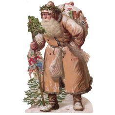 Large Brown Coat Victorian Santa Scrap ~ Germany ~ New for 2015: