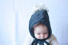 Cinder Grey Hoodie Pom Pom Hat Bonnet Style Hood by MAMAOWLSHOP