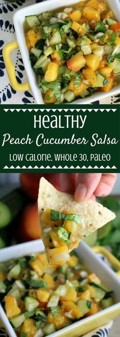 This Healthy Peach Cucumber Salsa Recipe is the perfect refreshing summer snack. Low calorie, Whole 30 friendly, paleo and gluten free – it's so delicious! |paleo | whole 30 | gluten free | dairy free | summer salsa | healthy salsa | healthy snack |