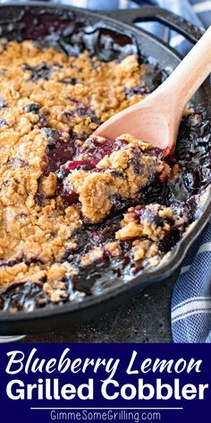 Delicious Cast Iron Cobbler that you make on the grill! This Blueberry Lemon Cobbler is the perfect ending to your BBQ. Packed full of juicy blueberries and the perfect amount of lemon, grilled to perfection! Bbq Desserts, Grilled Desserts, Lemon Desserts, Best Dessert Recipes, Delicious Desserts, Dessert Ideas, Lemon Recipes, Summer Desserts, Amazing Recipes
