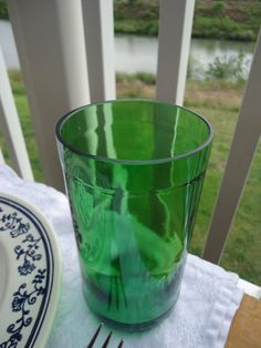 Green Glass Tumblers made from Upcycled Pellegrino bottles by ConversationGlass, $18.00