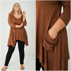 Womens Plus Size Lagenlook Top Kimono Kaftan With Pockets Brown Camel NEW 1920 Flapper Dresses, Kaftan, Size Clothing, Plus Size Outfits, Evening Gowns, Camel, Winter Fashion, Kimono, Tunic Tops