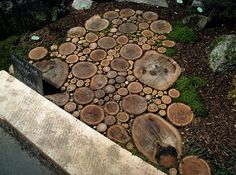 Sliced wood; garden wood path