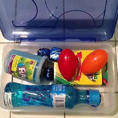 Calming Box!  This can be used for children to help them cool down when they are angry.  Items included: bubbles, silly putty, chocolate, crayons, and flarp.  Who cannot cheer up when using flarp!  :-)