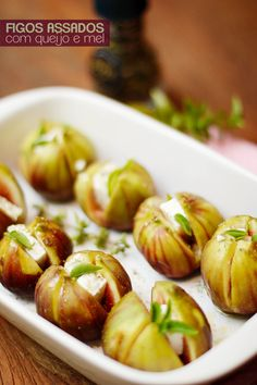 Roasted figs with cheese and basil