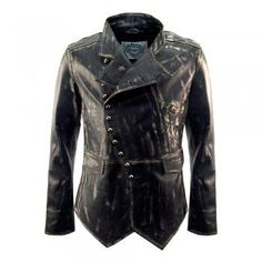 Impero London Signature Mens Military Fitted Distressed Leather Jacket   code:SOLDIERH FROM £395.00