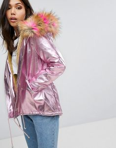 PrettyLittleThing Iridescent Faux Fur Hooded Parka - Pink