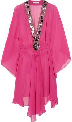 Matthew Williamson Embellished Silkgeorgette Kaftan in Pink - Lyst