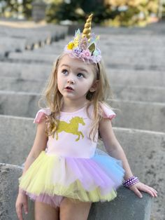 Sweet look for a unicorn lover, our Pastel Tutu Dress can be custom made to fit different party themes. You can design your own to match her party theme!