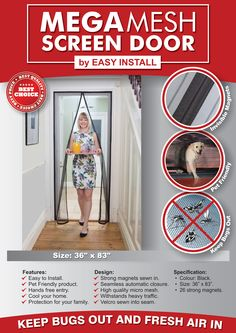 Let Fresh Air Inside Your Home Without Letting Bugs in with the Mega Mesh Screen Door #magneticscreendoor