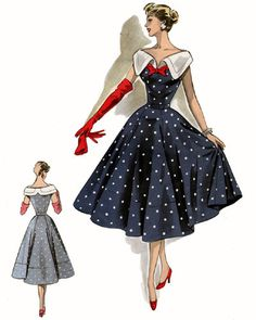 Study in Red White and Blue 1950s Fashion Collage Sheet in 3 sizes D148. $3.74, via Etsy.