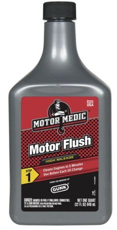 Motor Medic by Gunk MF3-12PK High Mileage 5-Minute Motor Flush - 32 oz., (Case of 12). Frees up sludge associated with slow city driving. Can be easily used by car owners or professional technicians before oil changes. Treats engine in 5 minutes. Removes gums, varnishes, and sludge from internal parts. Size: 32 Ounce. Dimensions: (width: 419), (height: 857) hundredths-inches. Removes accumulated gums, varnishes and sludge from internal engine parts, releases sticky valves and piston...
