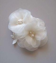 Silk Hair Flowers W/ Crystals Pearls $50