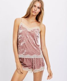 Velvet shorts, - Velvet lace-trimmed shorts with an elastic waistband. - Find more trends in women fashion at Oysho . Lace Trim Shorts, Velvet Shorts, Velvet Tops, Rompers, Lingerie, Tank Tops, Womens Fashion, Outfits, Dresses