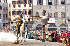 Arezzo-The Giostra del Saracino (The Joust of the Saracen): it takes place on the first Sunday of September and is probably one of the most beautiful medieval reenactments in the country. Take a plunge into the atmosphere, sounds and colors of 13th century Italy and watch knights in armor joustling against each other.