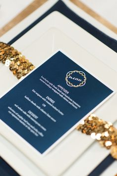 Sequins and navy menus by Just Milled.