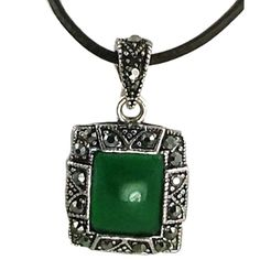 A beautiful alloy pendant that can hang from a ball style sterling silver chain or leather necklace.  This gorgeous pendant is a jade resin with hemitite cz stones in a beautiful faux marcasite look.
