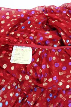c1978 Yves Saint Laurent Voluminous Caped Blouse Red Silk and Metallic Dots For Sale at 1stdibs