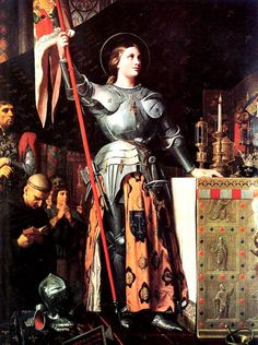 Jean Auguste Dominique Ingres painted image of Joan of Arc at the coronation of Charles VII. Jeanne d'Arc au sacre du roi Charles VII, dans la cathedrale de Reims Joan of Arc. This image is available as a print. Joan D Arc, Saint Joan Of Arc, St Joan, Today's Saint, Jeanne D'arc, Catholic Saints, Patron Saints, Roman Catholic, Catholic Art