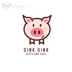 ABOUT  Cute illustrated pig standing waiting for your love, perfect for your business!  This design is a pre-made, non-exclusive design; Pig, Cafe, Hog, Ham, Whimsical, Cute, Drawing, Oink, Logo