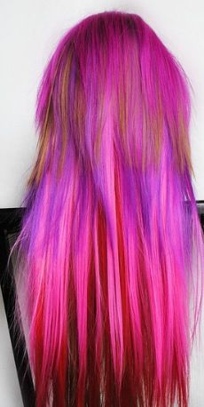 colorful pink purple hair