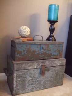 Pair GORGEOUS INDUSTRIAL CHIC Vintage Metal Toolbox by Sellvaged