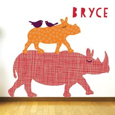 Rhino Jungle Fabric Wall Decals From Eco Wall Decals | Eco Wall Decals