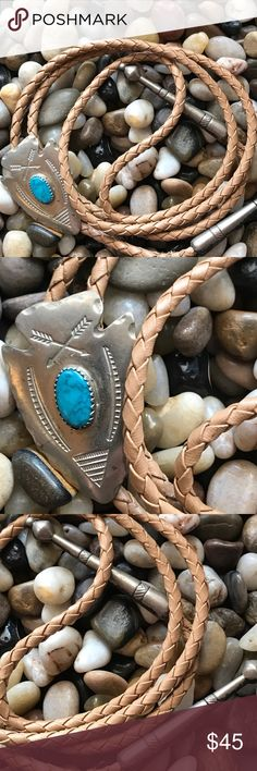 Native American Turquoise Navajo silver bolo leath Nice vintage Turquoise leather silver( does not react to magnet) Native American Navajo bolo. Vintage Jewelry