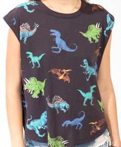 Relaxed Ditsy Dino Top | FOREVER21 - 2018337048
