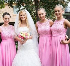 Pink Bridesmaid Dress with Floral Lace Bodice, Lace Bridesmaid Dress with High Neck, A-line Chiffon Scoop Neck Gown for Bridesmaid