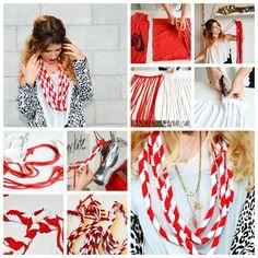 Convierte tu camiseta vieja en una bufanda de moda (Vídeo) - http://blogmujer.org/convierte-tu-camiseta-vieja-en-una-bufanda-de-moda-video/