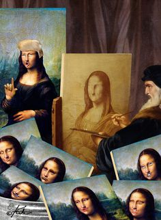Leonardo struggling to paint Mona = art humor Monnalisa Kids, Mona Friends, La Madone, Mona Lisa Parody, Mona Lisa Smile, Famous Pictures, Renaissance Artists, Collage, Op Art