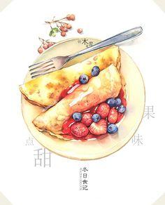#木龙蕾/绘#【冬日食记】能量莓子蛋饼 ...@☆僾⊥伱①丗采集到好看的贴纸素材(387图)_花瓣插画/漫画