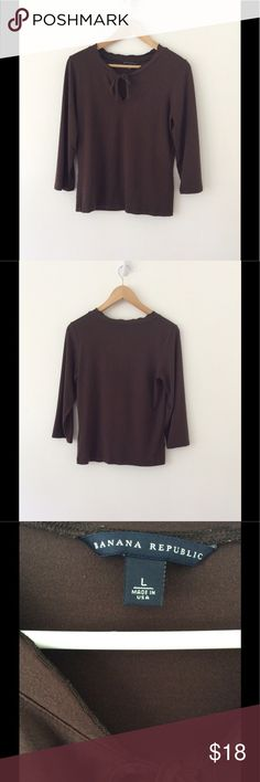 "Banana Republic- Long Sleeve Top-Size L Soft, brown, long sleeve Keyhole top which ties in the front. Length: 23 1/2""(shoulder to hem) Bust: 18"" (underarm to underarm) Sleeve: 18""  92% Micro Modal, 8% Lycra Spandex. Smoke Free/Dog Friendly Home🌸 Banana Republic Tops Tees - Long Sleeve"