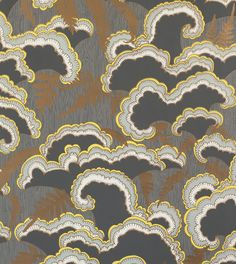 Lush Wallpaper : Dark Grey Color Light Grey Designer/Illustrator Mary Kysar This five–color (including metallic gold) wallpaper is hand–screenprinted using water–based inks on recyclable paper. This paper is also available with a Light Grey or Red base color.