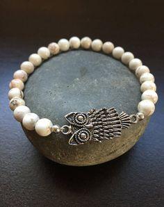 White Howlite Silver Owl Stretch Bracelet by Kosmikchic on Etsy