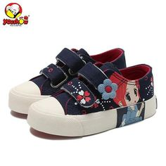 Girls Princess Shoes 2018 New Spring Children Canvas Sneakers Floral Kids Fashion Sneakers Denim Casual Flat Shoes for Girls-Touchy Style-Dark blue-1-TouchyStyle