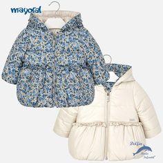38af3e470 Chaquetón de bebe niña MAYORAL reversible flores azules Mùa Đông, Móng Xanh  Lam, Thời