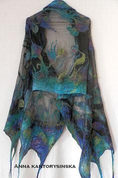 bufanda de seda chal flor de noche grande de la por kantorysinska