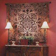 Fine Art Tapestries Iron Work Tapestry Simpson Decorative tapestry Artist Simpson Abstract art Enhances the acoustical characteristics of the room 2 rod sizes available 13 rod styles available Adjustable rod 2 tassels available in Wooden Wall Decor, Wooden Walls, Hanging Art, Tapestry Wall Hanging, Wall Hangings, Unique Furniture, Home Decor Furniture, Tuscan Decorating, Decorating Ideas